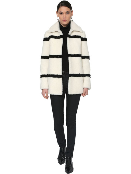 SAINT LAURENT Striped Shearling Coat in black / white