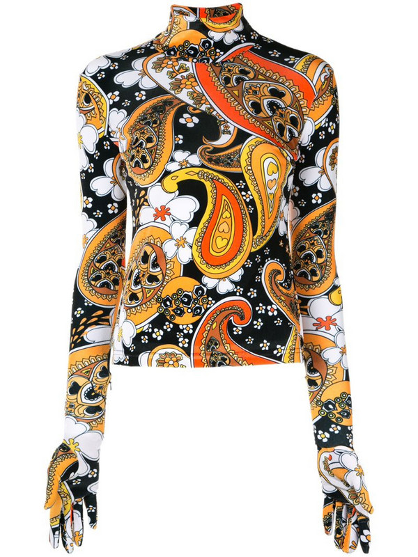 Richard Quinn paisley print blouse in orange