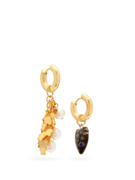 Timeless Pearly - Mismatched Pearl & Gold-vermeil Drop Earrings - Womens - Blue Gold