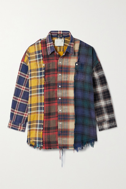 R13 - Distressed Patchwork Checked Cotton-flannel Shirt - Red