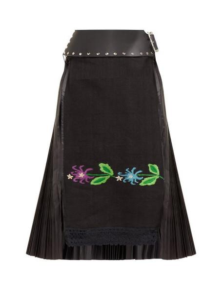 Chopova Lowena - Floral Embroidered Pleated Wool Blend Skirt - Womens - Black Multi