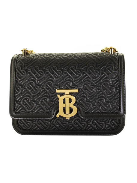 Burberry Small Quilted Monogram Lambskin Tb Bag in black