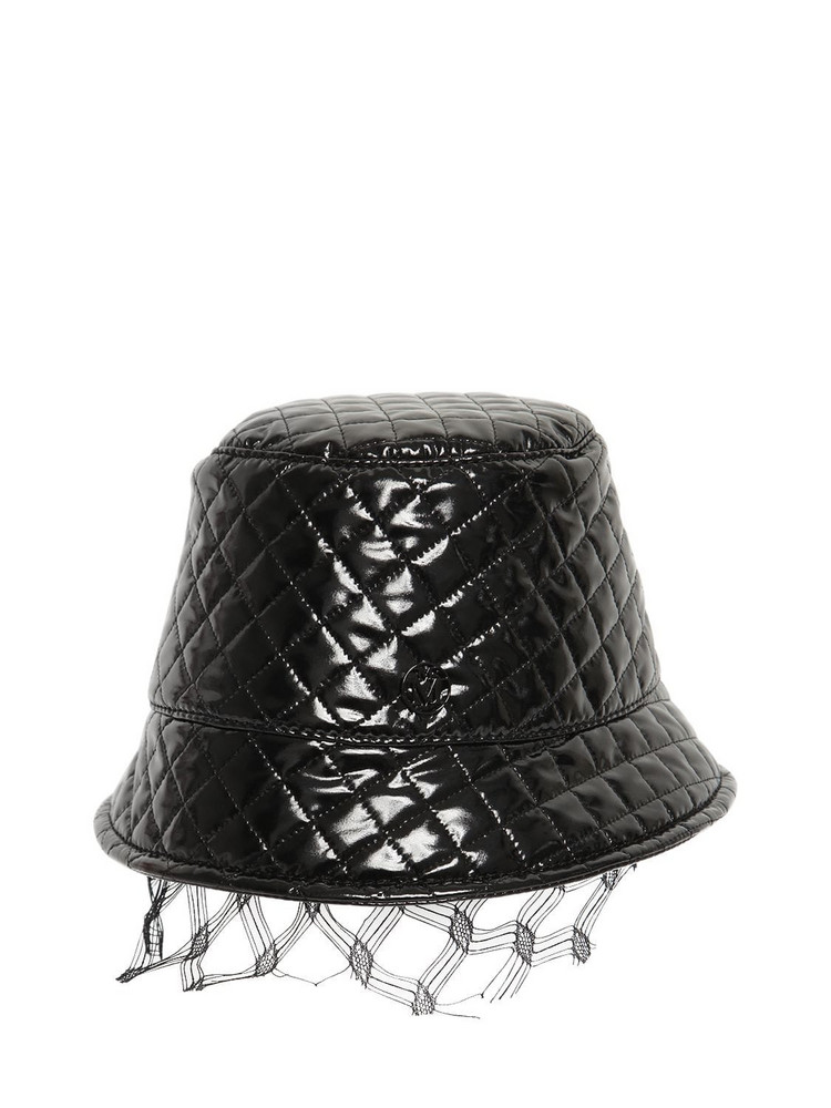 MAISON MICHEL Souna Quilted Varnish Hat in black