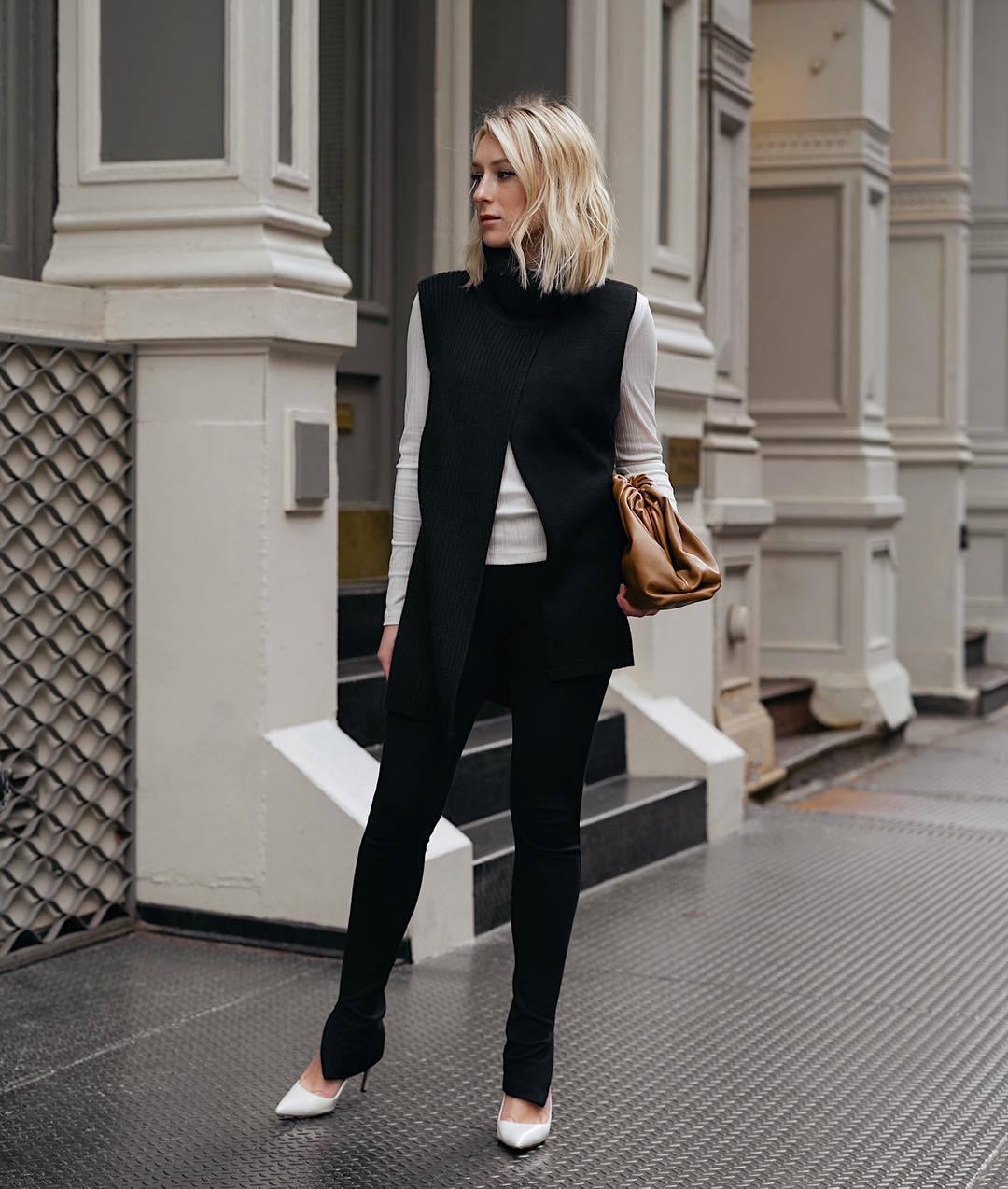 pants black leggings pumps vest white top bag