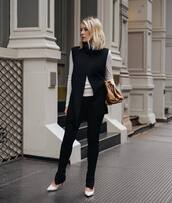 pants,black leggings,pumps,vest,white top,bag