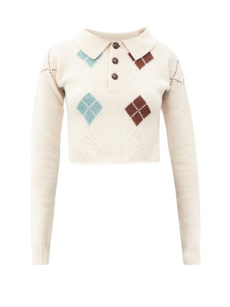 Preen By Thornton Bregazzi - Helena Collared Argyle-knit Wool-blend Sweater - Womens - Beige Multi