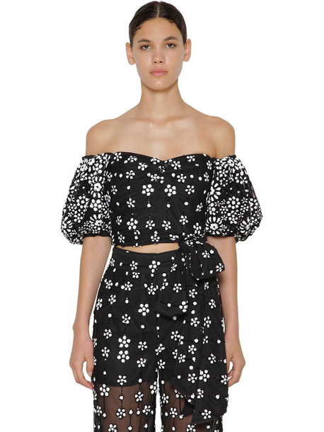 SELF-PORTRAIT Floral Sequin Puff Sleeve Cropped Top in black / white