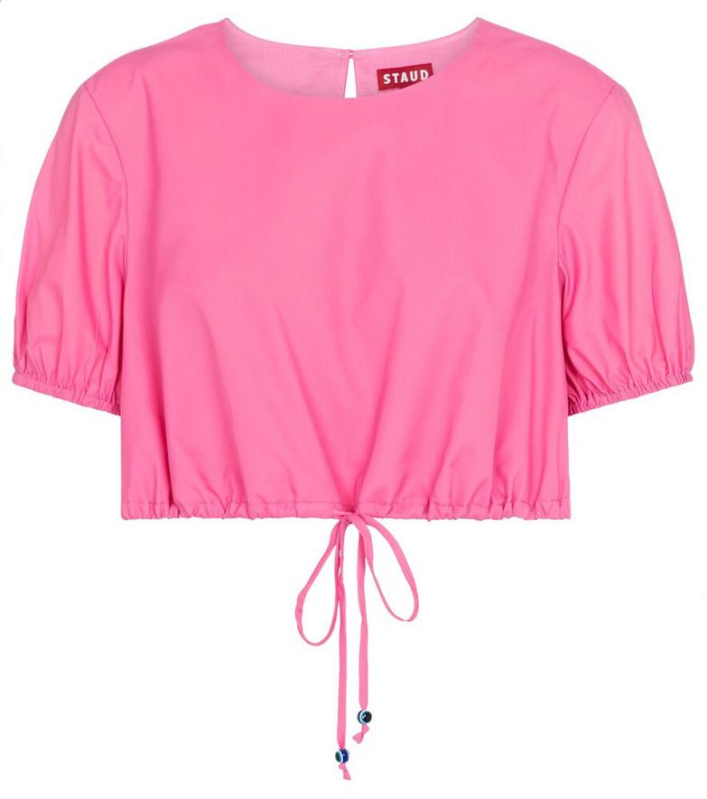 Staud Prato crop top in pink