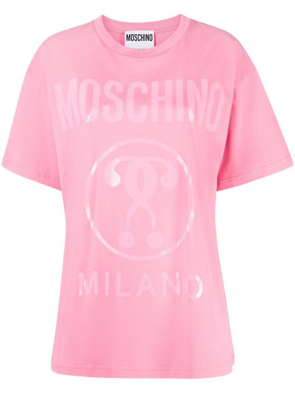 Moschino question mark logo T-shirt in pink