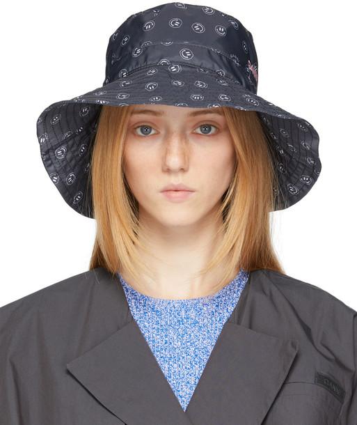 GANNI Black Graphic Bucket Hat