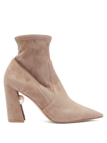 Nicholas Kirkwood - Miri Faux Pearl-embellished Suede Sock Boots - Womens - Nude