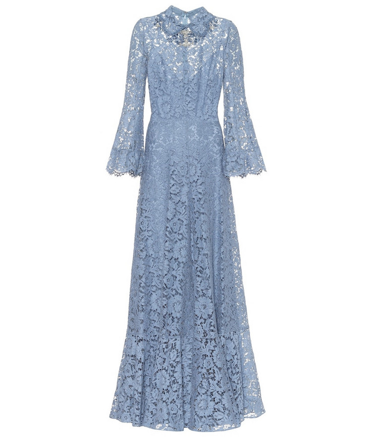Valentino Embellished floral-lace gown in blue