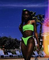 swimwear,neon green