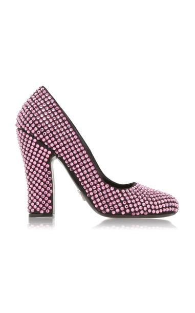 Prada Crystal-Embellished Satin Pumps Size: 36.5 in pink