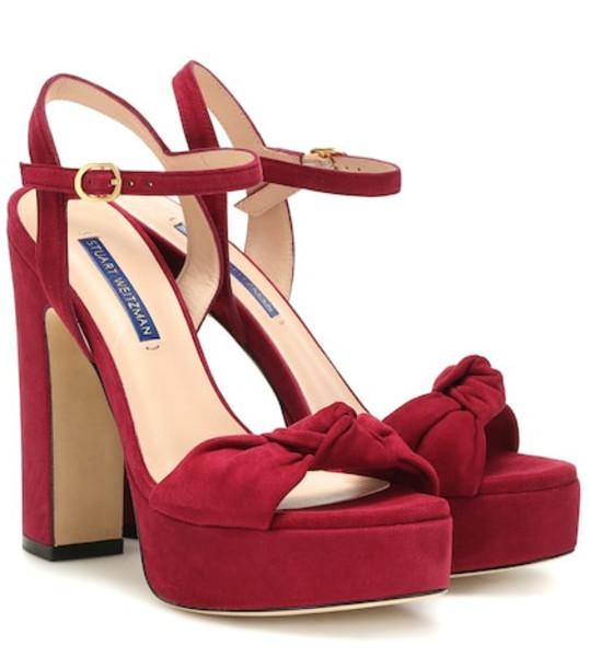Stuart Weitzman Mirri 140 suede plateau sandals in red