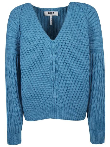 MSGM V-neck Sweater in blue