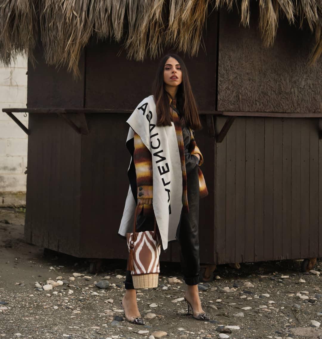 scarf balenciaga plaid coat pumps handbag black jumpsuit leather