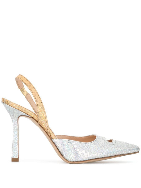 Madison.Maison 90mm snake-print pumps in silver