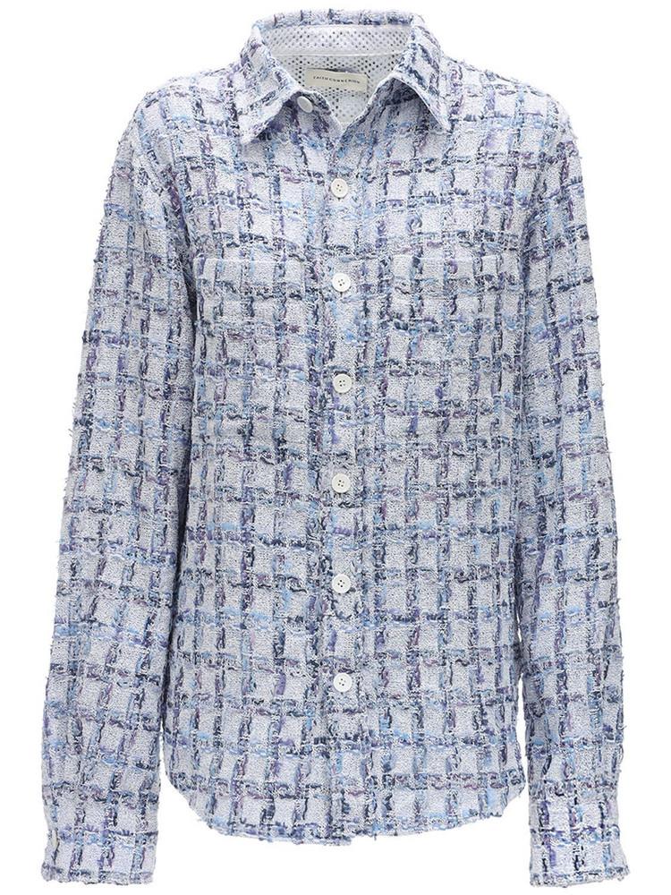 FAITH CONNEXION Tweed Shirt Jacket in blue
