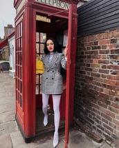 coat,double breasted,black and white,balenciaga,pumps,tights,black skirt,mini skirt,white turtleneck top,yellow bag