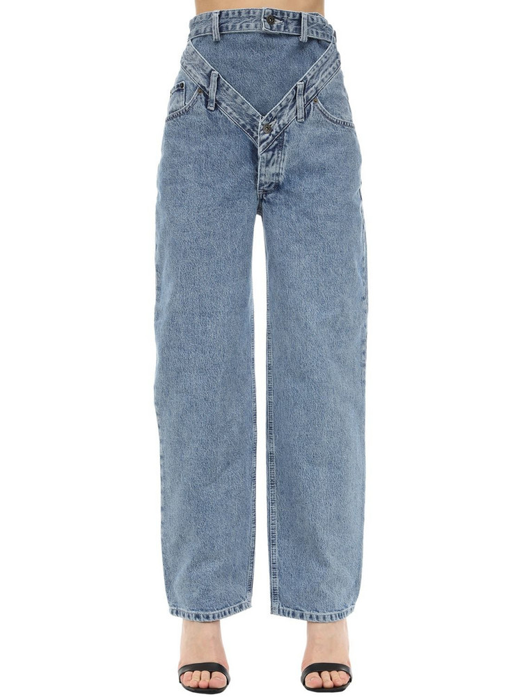 Y PROJECT Cotton Denim Jeans W/ Cut Outs in blue