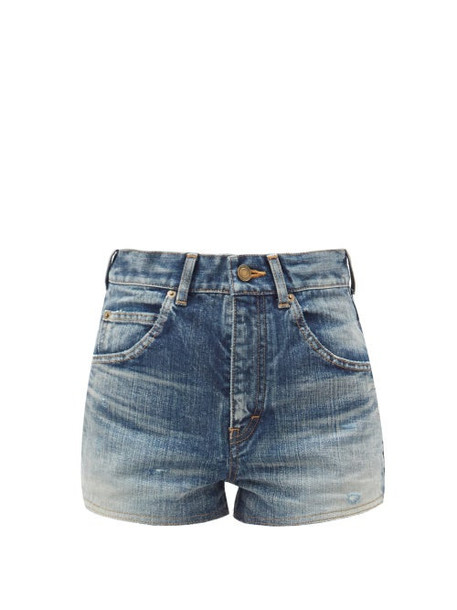 Saint Laurent - High-rise Acid-wash Cotton-denim Shorts - Womens - Denim