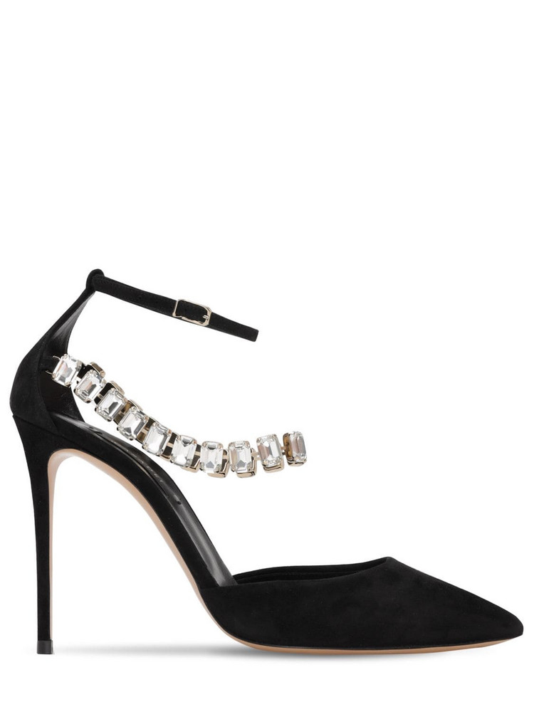CASADEI 100mm Embellished Suede Pumps in black