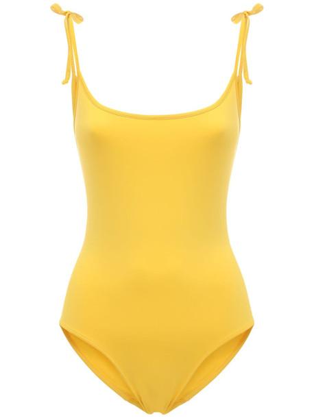 LAURA URBINATI Canottina One Piece Swimsuit W/ Bows in yellow