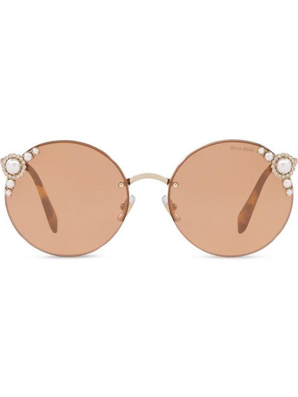 Miu Miu Manière round-frame sunglasses in brown