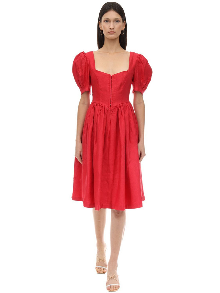 GIOIA BINI Exclusive Clo Linen Dirndl Dress in red