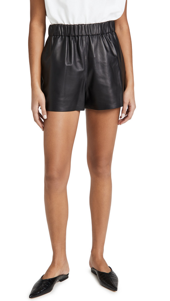 Tibi Leather Pull On Shorts in black