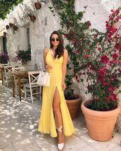 dress,maxi dress,slit dress,sleeveless dress,polka dots,platform sandals,white bag