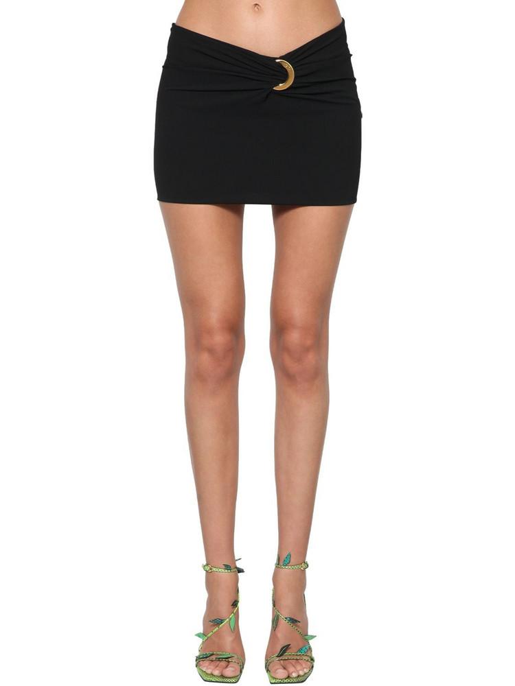 VERSACE Sable Viscose Mini Skirt W/gold Detail in black