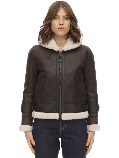 SCHOTT Lcw 1257 Hooded Leather Aviator Jacket in brown