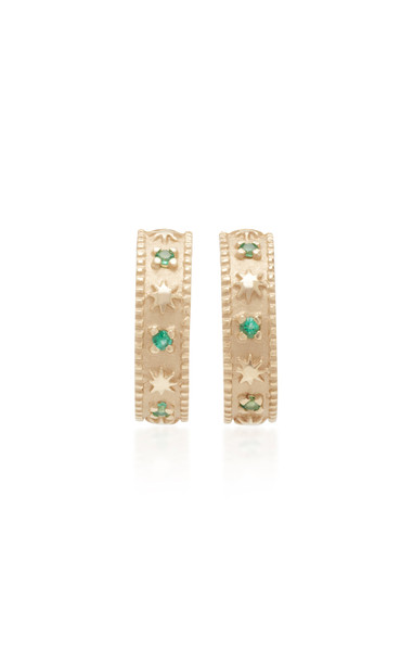 Pamela Zamore 18K Gold And Emerald Hoop Earrings