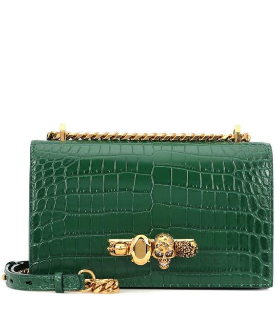 Alexander McQueen Jewelled leather shoulder bag in green