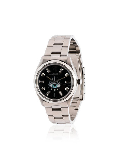 Jacquie Aiche customised black Rolex eye stainless steel watch in silver