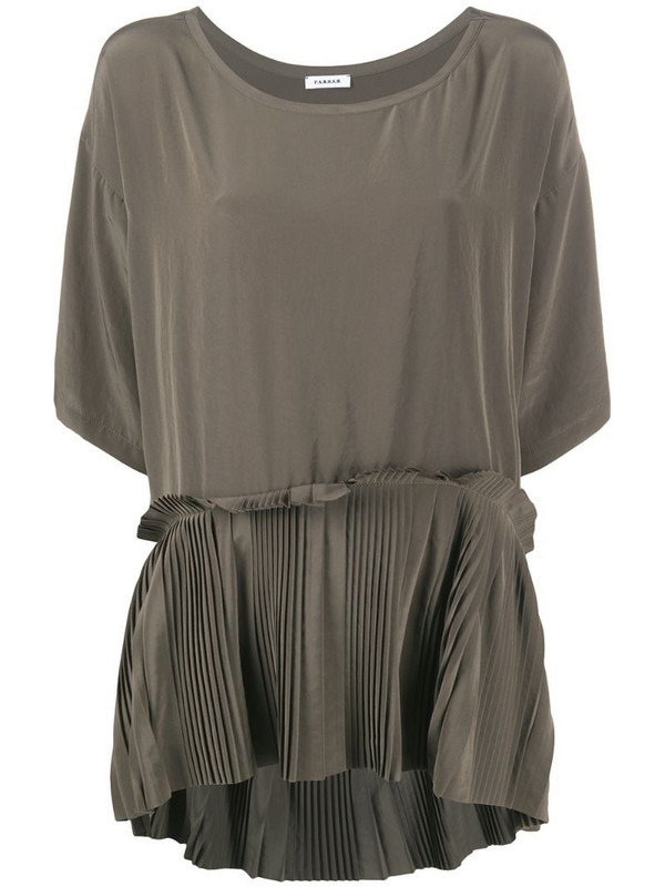 P.A.R.O.S.H. pleated-hem blouse in green