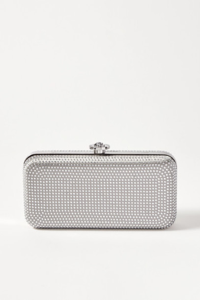 Versace - Crystal-embellished Metallic Satin Clutch - Silver