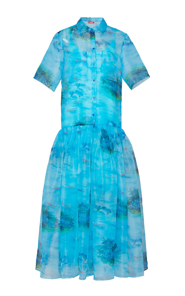 Staud Riley Printed Drop Hem Maxi Dress in blue
