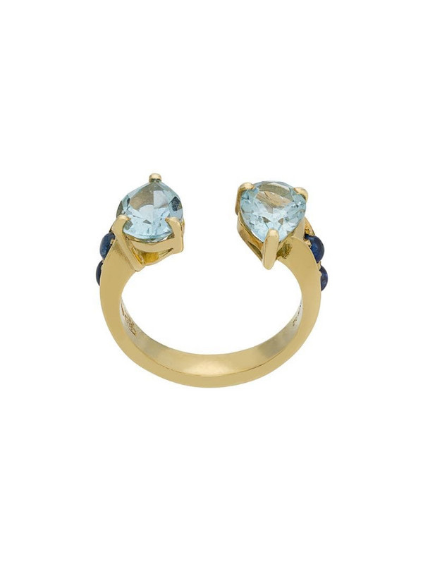 Dubini Theodora Aquamarine Double Tear 18kt gold ring in blue