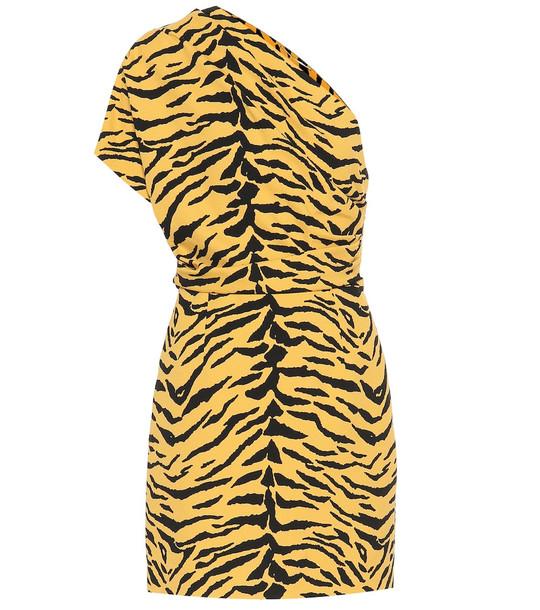 Saint Laurent One-shoulder zebra-print minidress