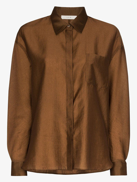 LVIR button-up satin shirt in brown