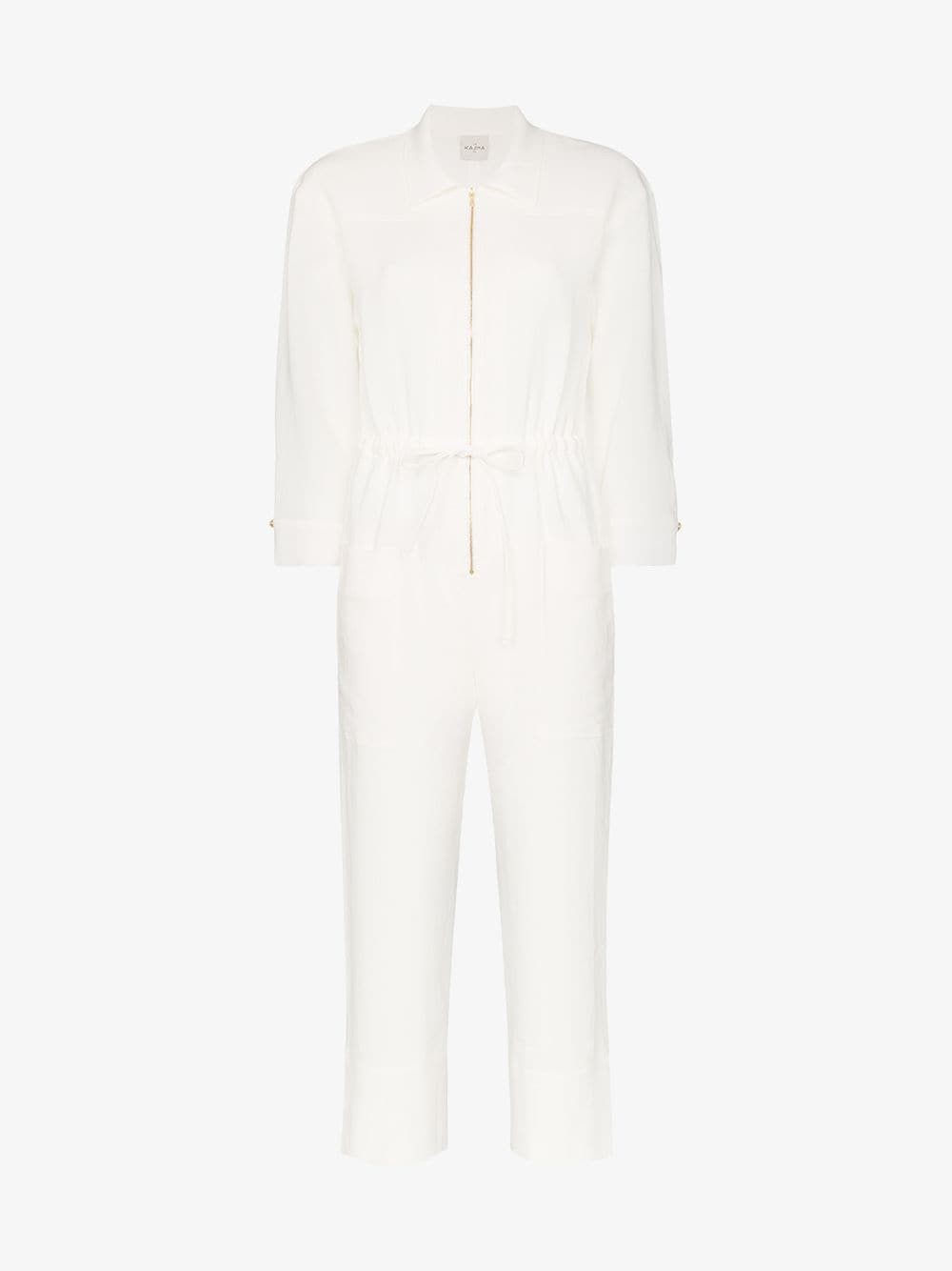 Le Kasha Negev cropped belted linen jumpsuit in white