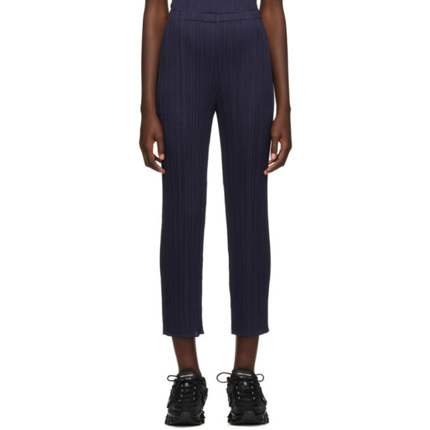 Pleats Please Issey Miyake Navy Wide Pleated Trousers