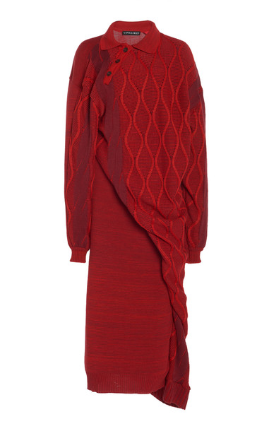 Y/Project Twisted Argyle Knit Dress in burgundy