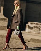 jacket,wool jacket,plaid,balenciaga,double breasted,sandals,pants,celine bag,white bag,turtleneck