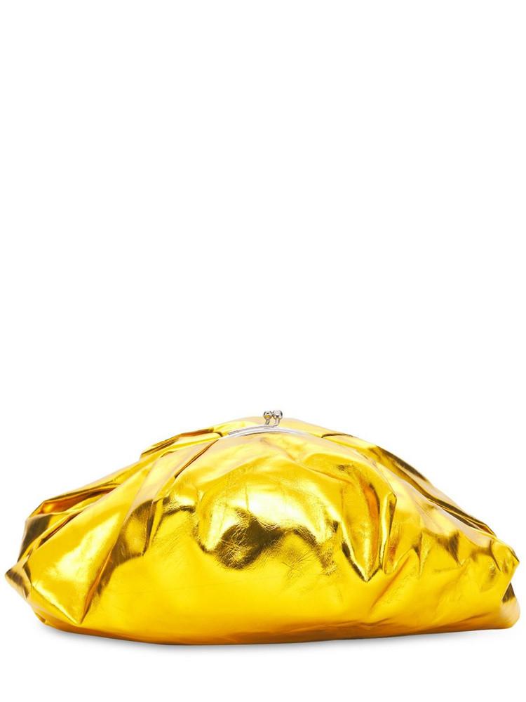 JIL SANDER Goji Pleated Medium Leather Clutch in gold