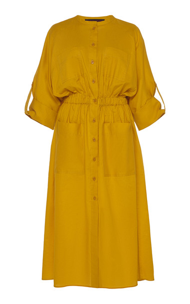 Martin Grant Collarlees Cotton Shirt Dress Size: S in yellow