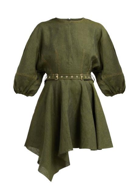Marques'almeida - Asymmetric Hem Belted Linen Dress - Womens - Khaki